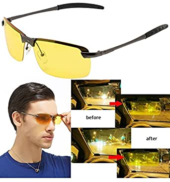 Night Vision View Square Rimless Glasses Goggles Metal Frame