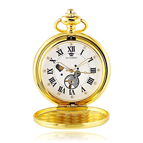Gold Tone Vintage Pocket Watch - OUYAWEI Mechanical Pocket Watch Moon Phase Function Gold Tone Women Fob Watch (Gold White)