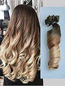 "22"" Full Head Clip in Hair Extensions Ombre Wavy Curly Dip"