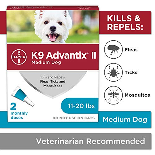 Bayer K9 Advantix II Flea Tick and Mosquito Prevention for Medium Dogs 11  20 lb 2 doses