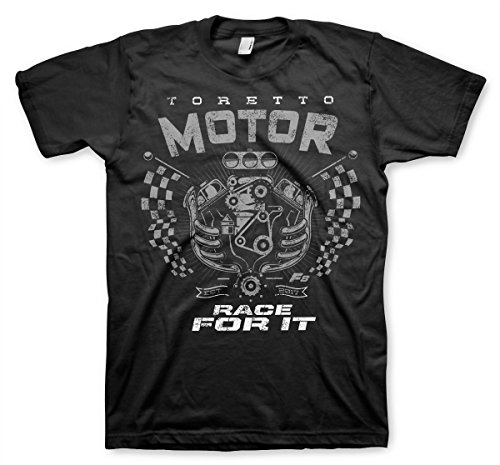 Motors T-shirt Johnson - Fast & Furious Officially Licensed Toretto Motor - Race for It T-Shirt (Black), Small