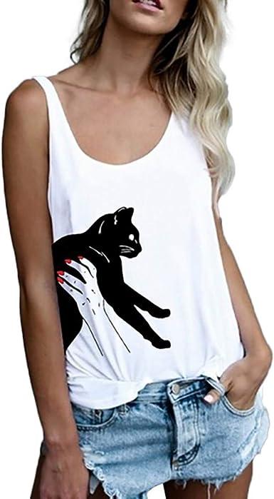 Slyar Camisetas Mujer Manga Corta Gatos Camisetas Mujer Tallas Grandes Camisetas Tirantes Mujer Basicas Con Estampado De Moda Camisetas Mujer Manga Corta Verano De Simple Nuevo 2019 Amazon Es Ropa Y Accesorios