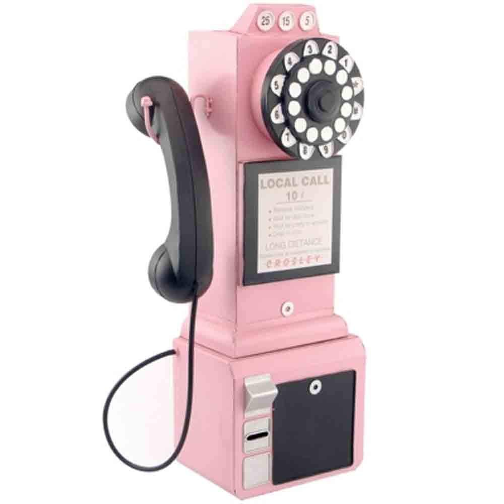 Unicco inc. Crafts Desktop Decoration - Wrought Iron Retro Telephone Model Decoration Crafts Decoration/Pendant/Crafts (Color : Pink)