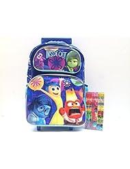 Disney Pixar Inside Out Blue Large Rolling Backpack with Pencil Set