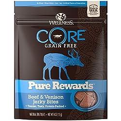 Wellness CORE Pure Rewards Natural Grain Free Dog Treats, Soft Beef & Venison Jerky Bites, 4-Ounce Bag