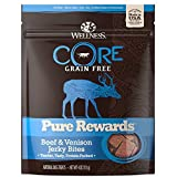 Wellness Natural Pet Food CORE Pure Rewards Natural Grain Free Dog Treats, Soft Beef & Venison Jerky Bites, 4-Ounce Bag