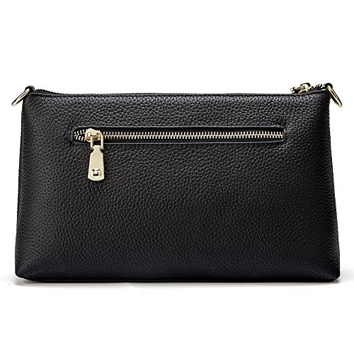Card Slots Clutches Phone Genuine Handbags Women with Evening Rose Purses Leather Crossbody Wallets Black gvvSqxwC