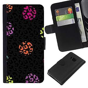 For HTC One M7 Case , Dot Leopard Animal Pattern Black - la tarjeta de Crédito Slots PU Funda de cuero Monedero caso cubierta de piel