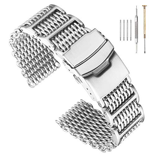 (22mm Stylish Stainless Steel Shark Mesh Watch Band H-Link Expansion Watch Strap Double Buckle Deployment Clasp Brush Metal Watch Bracelet Solid Mesh Band Easy Adjusted with Screws)