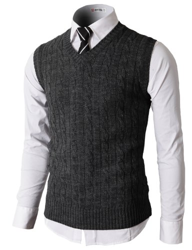 Cable Knit Wool Vest - H2H Men's V-Neck Pullover Vest Casual Sleeveless Knitted Slim Fit Sweater Vest Charcoal US S/Asia M (KMOV037)