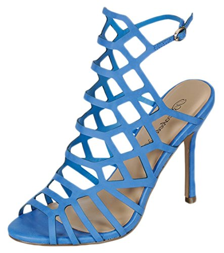 Breckelles ED32 Women Leatherette Peep Toe Hollow Out Slingback Mule Stiletto Sandal - Blue (Size: - Sling Round Toe