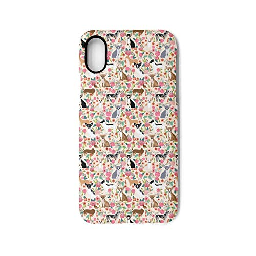 Xs Case,Cute Pets Chihuahua Dog and Floral Anti-Scratch Shockproof Slim Cover Case Compatible with Apple iPhone X/Xs Case,TPU Back Cover Case ()