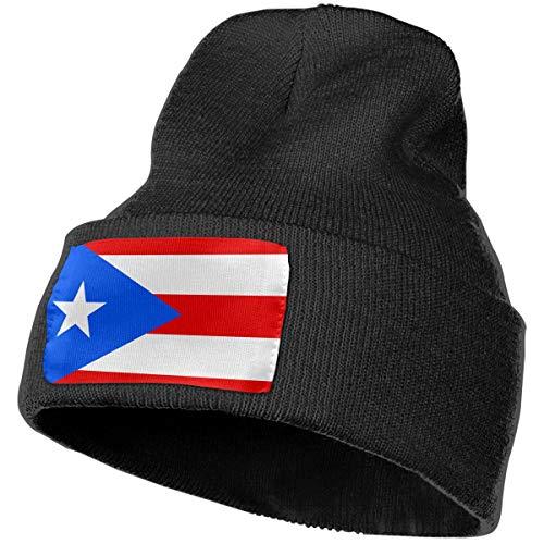 Puerto Rico Flag Men Women Winter Beanie - Unisex Cuffed Plain Skull Knit Hat Cap