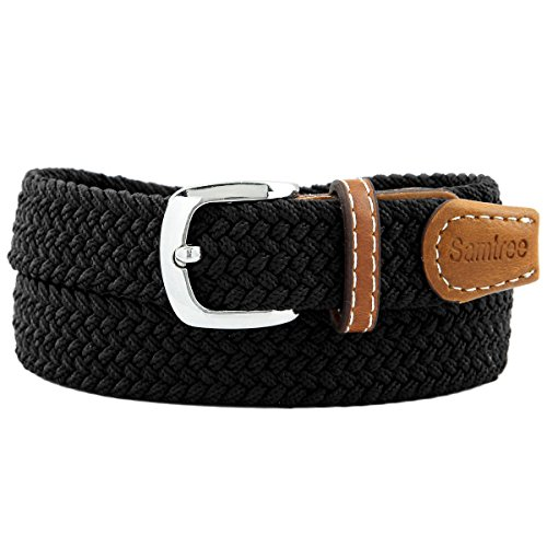"Samtree Braided Belt for Women,PU Leather Stretch 1"" Width Woven Web Strap(Black)"