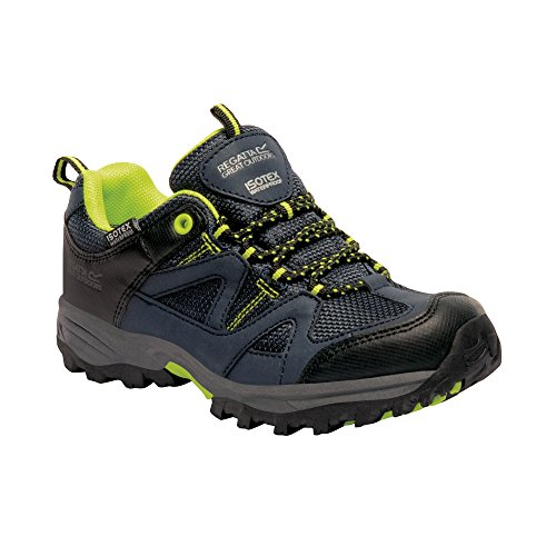 Regatta Boys Gatlin Low Isotex Waterproof Walking Shoes Navy Blazer / Lime Zest