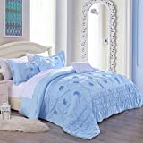Cassiel Home Kayla Serenity Bedding Set with 3D Flour Embroidery Beautiful Queen Comforter Set for Girls