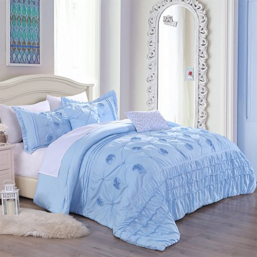 Cassiel Home Kayla Serenity College Dorm Bedding Set Twin Xl Grils with 3D flour embroidery Beautiful Comforter set (TWIN XL)