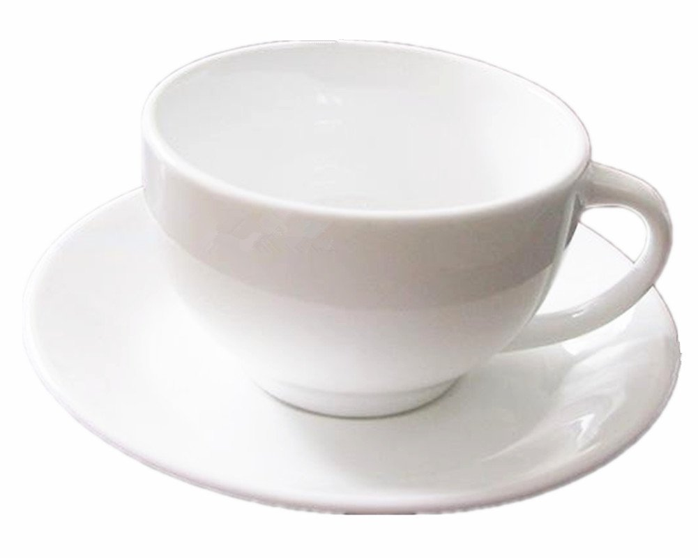 Moyishi 300ml White Stoneware Espresso Cups and Saucers Coffee Cup Tea Set
