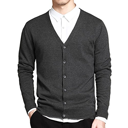 Men's Basic Long Sleeve Button Down V Neck Knitted Cardigan Dark Grey Tag XL - US M