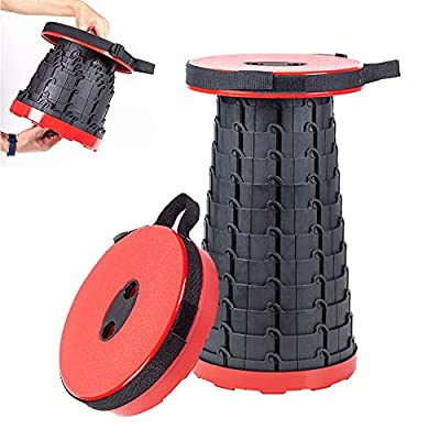 Portable Retractable Folding Stool,Lightweight Foldable Seat,Adjustable Height Step Chair Stool for Kids Adult Camping Travel Fishing Hiking Garden BBQ and Other Outdoor Activities (Red): Kitchen & Dining