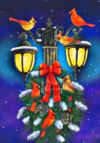Christmas Wreath Cardinals Lamp Post Mini Flag
