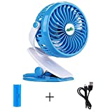 Image of Mini Battery Operated Clip Fan,Sall Portable Fan Powered by Rechargeable Battery or USB Desk Personal Fan for Baby Stroller Car Gym Workout Camping,Blue