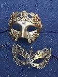 Gold Couples Masquerade Mask, Greek Roman Mask and Gold Extravagant Mask, Mardi Gras Masks