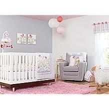 New Baby Girls Pink Flower Garden 8pcs Crib Cot Bedding Set with window valance