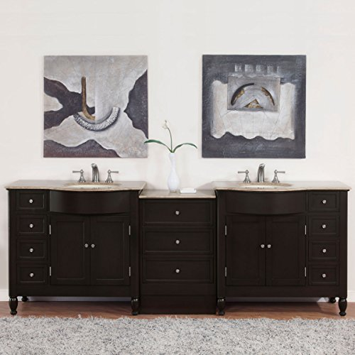 Silkroad Exclusive Countertop Travertine Double Sink Bathroom Vanity with Cabinet, 95-Inch
