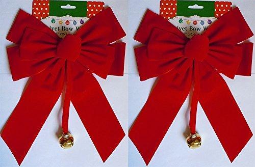 (Set of 2 Large Red Velvet Christmas Bows 10