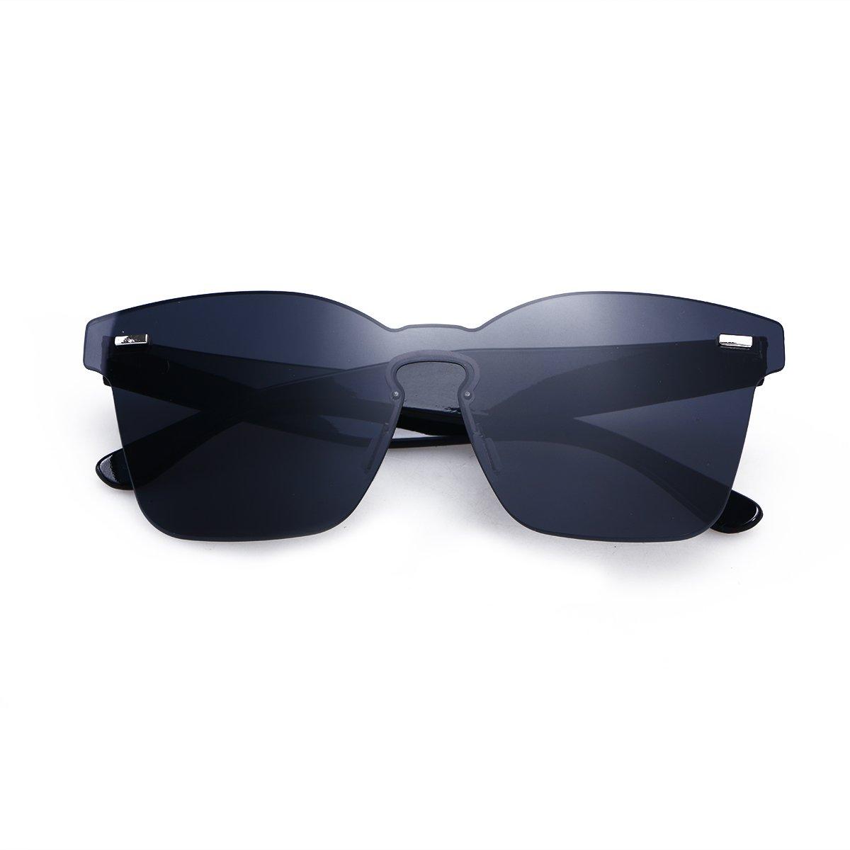 47f0699fd17c OULII Rimless Sunglasses Novelty Pratical Beach Seaside Sunglass Mirror  Summer Eyewear for Men Women (Black) at Amazon Women's Clothing store: