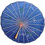 Chinese Japanese Blue Fabric Umbrella Parasol 32""