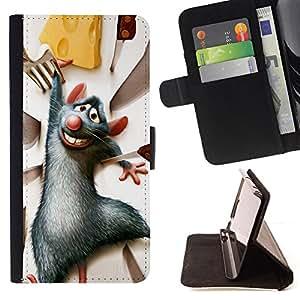 - Rat Rodent Grey Cheese Cartoon Character - - Prima caja de la PU billetera de cuero con ranuras para tarjetas, efectivo desmontable correa para l Funny HouseFOR Apple Iphone 5C