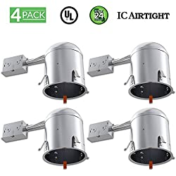 Sunco Lighting 4 Pack 6 Inch Remodel LED Light Can Air Tight IC Housing, Recessed Lights, LED Downlight, For Retrofit Kit, Electrician Prefered - UL Listed and Title 24 Certified (TP24)