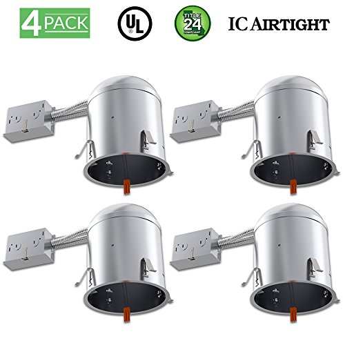 Sunco Lighting 4 Pack 6 Inch Remodel LED Light Can Air Tight IC Housing, Recessed Lights, LED Downlight, For Retrofit Kit, Electrician Prefered - UL Listed and Title 24 Certified (TP24) by Sunco Lighting