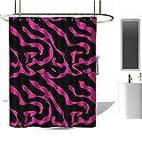 Pink Mossy Oak Shower Curtain Qenuan Quality Polyester Shower Curtain Pink Zebra,Fashion Zebra Stripes Exotic Safari in Feminine Tones Vibrant Abstract Motif,Magenta Black,3D Effect Bathroom Curtain 60