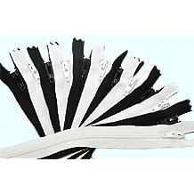 "16\"" Zipper YKK #3 Skirt & Dress ~ 6 Black and 6 White (12 Zippers / Pack)"