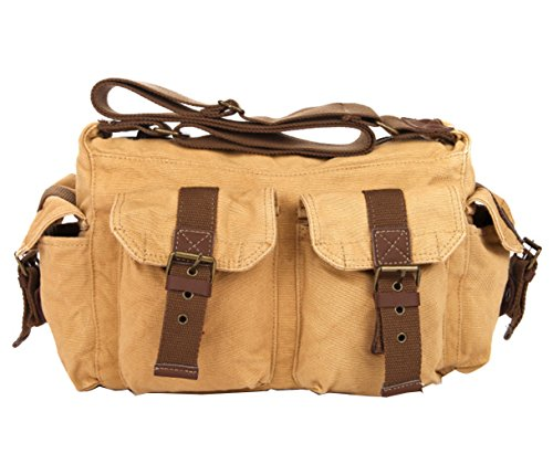 MiCoolker Men's Casual Satchel Bag Canvas Military Crossbody Shoulder Bag Daily Schoolbag Travel Messenger Purse for 13 inch Laptop Khaki