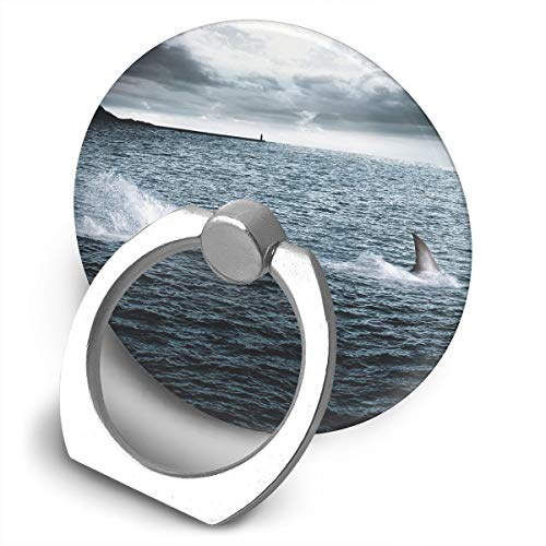 Round Finger Ring Cell Phone Holder Swim with Shark 360 Degree Rotating Stand Grip Mounts ()