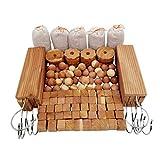 Wahdawn 130 Pieces Aromatic Cedar Moth Repellent Clothes Protection Closet Air Freshener - Cedar Hangups - Cedar Sachets - Cedar Moth Balls - Cedar Blocks - Cedar Rings