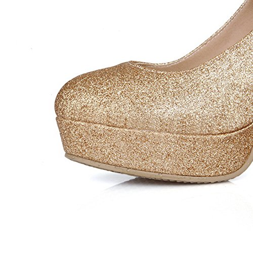 Pompe Dell'oro Donne Delle calzature Fibbia Rotonda Tacchi Chiusa Punta Solido Smerigliato Weenfashion HycYIqWB