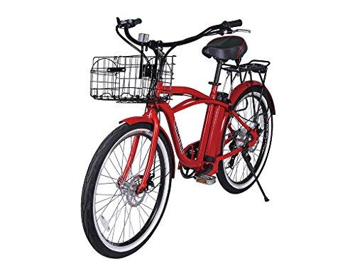 (X-Treme Electric Bicycle - Newport Beach Cruiser - Lightweight Aluminum Frame - Lithium Battery Powered E Bike - 7 Speed Shimano - 20+ Miles Range (Red))