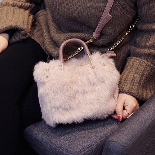 Épaule Cuir All Coréen Mode D'Hiver En Bandoulière Otomoll Artisane Mignon À Main Fourrure Nouveau Designer Le Match Fourrure Pink Sac fPX0qwg7