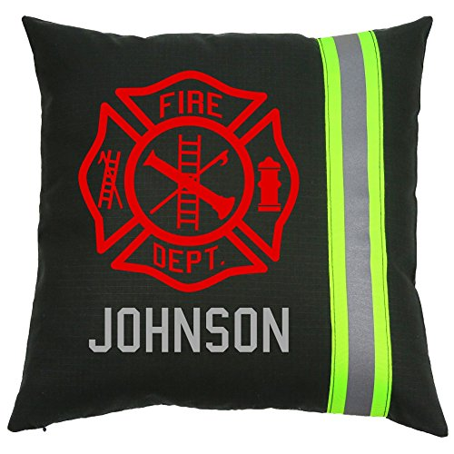 Personalized Firefighter Maltese Cross Throw Pillow (Black (Yellow Reflective))