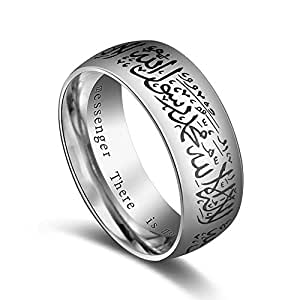 Stainless Steel Muslim Style Ring 8mm Mantra Ring Casual Fashion Rings