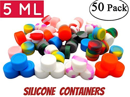 5 ml silicone wax containers Non-Stick Food Grade Silicone Oil Kitchen Container 5ml silicone container Concentrate Storage Jars, silicone pucks for dabs (50, colorful)