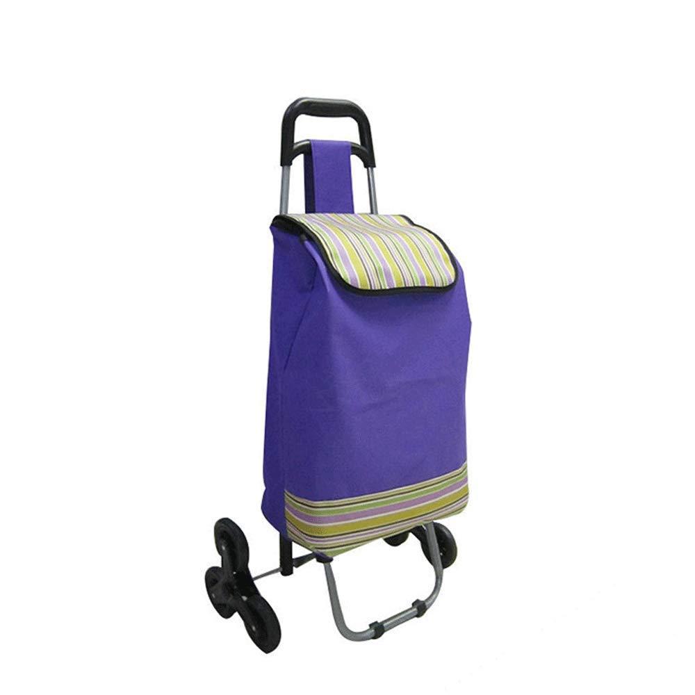 HUIFA 多機能トロリー折り畳みショッピングカート、野菜を購入する老人、階段を登る、ショッピングカート、小型カート 。 (色 : 青)  青 B07MXL5FPT