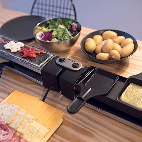 Raclette Grill 8 personnes Plaque de gril électrique Grill de table en pierre chaude (8 poêlons 1280 W, plaque en granit, rotative, barbecue de partie)