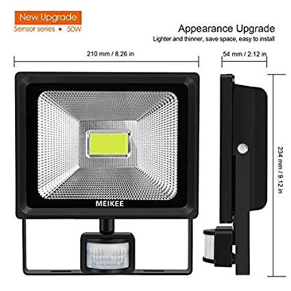 MEIKEE 50W 5000 LM Foco LED con Sensor de Movimiento, Super Brillante 6000K Focos LED Exterior Sensor, IP66 Impermeable Foco LED Detector Movimiento,para ...