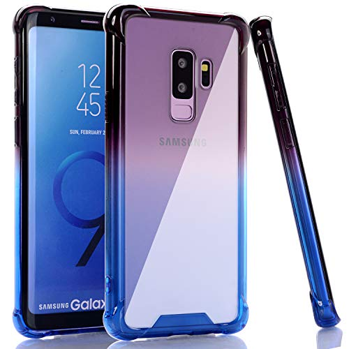 BAISRKE Galaxy S9 Plus Case, Shock Absorption Flexible TPU Soft Edge Bumper Anti-Scratch Rigid Slim Protective Cases Hard Plastic Back Cover for Samsung Galaxy S9+ Plus - Black Blue Gradient